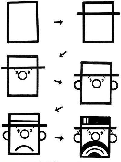 简笔画简单画:正方形简笔画2 老人 绅士