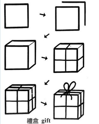 简笔画简单画:正方形简笔画9 礼盒 大象