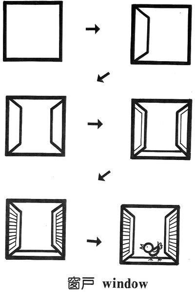 简笔画简单画:正方形简笔画17 窗户