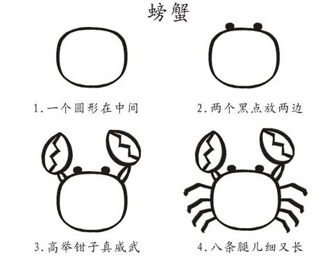 简笔画简单画:正方形简笔画35 面包车 螃蟹 火鸡