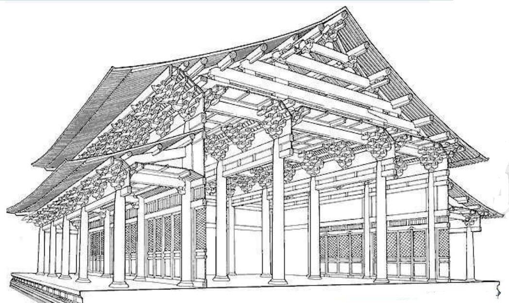 中国古建筑构造简笔画分享展示
